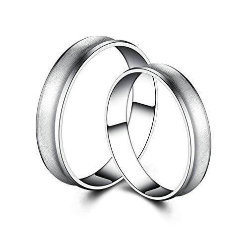 Aeici Trauringe Paar Platin 950 Paarring Herren Damen Matte Runde Form Silber Frauen 61 (19.4) & Herren 58 (18.5)