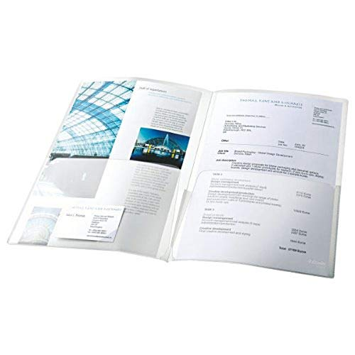 ESSELTE 17324 - Dossiers CANGURO doble PP 180 micras (bolsa 5 ud.) DIN A4 color transparente