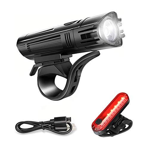 Luci Bicicletta LED, Luci per Bicicletta Ricaricabili USB,400 Lumens Super Luminoso Luce Bici Anteriore e Posteriore,4 modalità di Illuminazione,Impermeabile IPX4,Facile da Installare