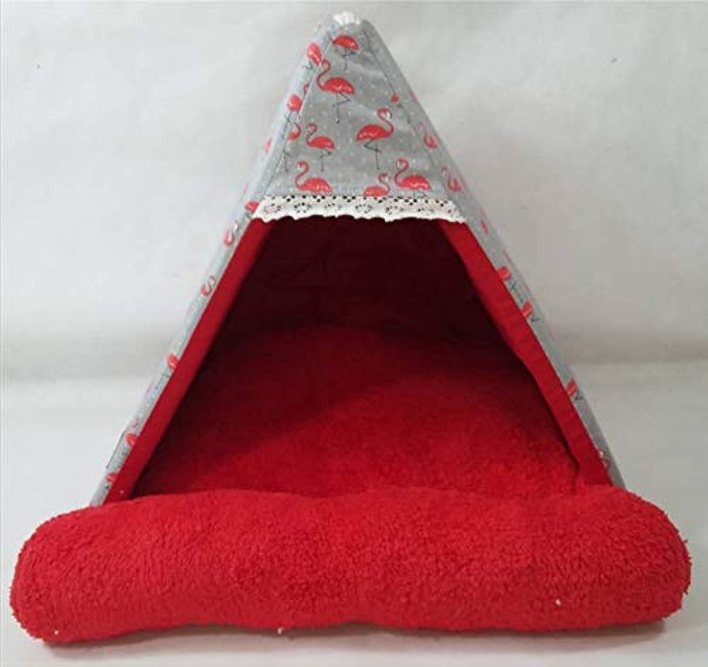 GZDXHN Kennel Cat Nest Winter Cotton Plush Comfortable Canvas Pet Tent Removable Washable Pet Nest