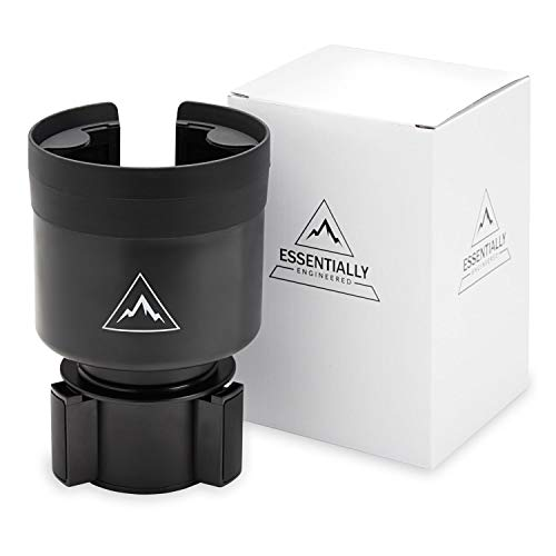 Essentially Engineered Car Cup Holder Expander Adapter with Adjustable Base - Rubber Tabs Hold Most 32-40 oz Bottles and Large Cups