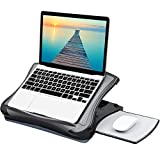 HUANUO Adjustable Lap Desk with Cooling Fan, Fits 15.6 Inch Laptops, Comfortable Laptop Desk Stand with 5 Adjustable Angles, Detachable Mouse Pad & Mesh Cushion Base