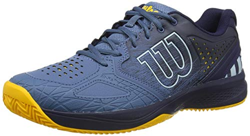 Wilson Kaos Comp 2.0 CC, Zapatilla de Tenis para Tierra Batida, tenistas de Cualquier Nivel Hombre, Azul/Azul/Dorado, 44 EU