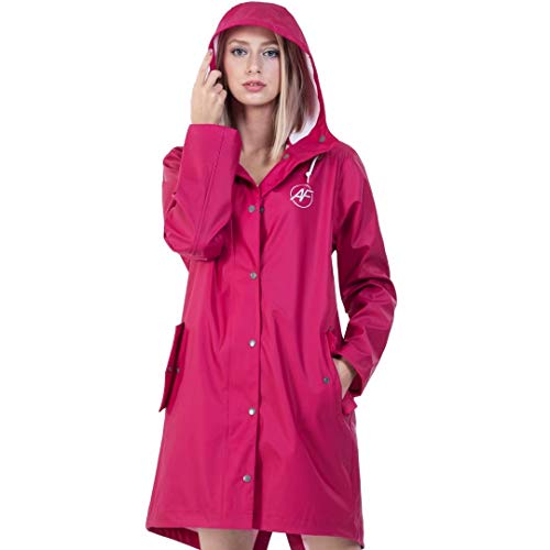 Andes Forest Women's Raincoat with Hood Lightweight Windbreaker Rain Jackets Haute Red