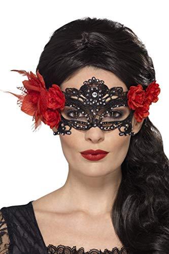 Smiffys Masque pour les yeux filigrane dentelle Jour des morts, Noir, avec roses et plum