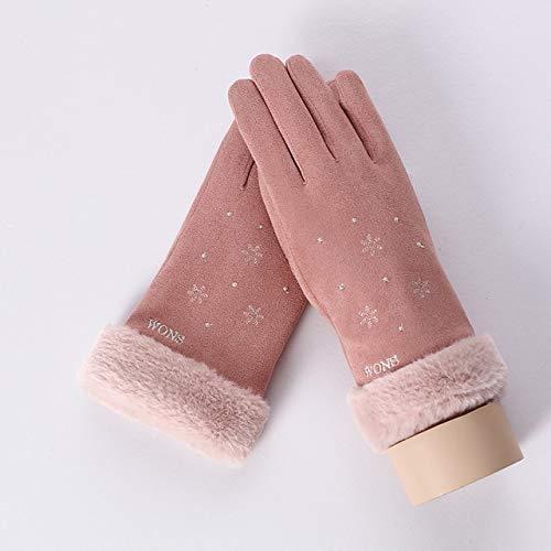 Nuevo Invierno Mujer Encaje Cálido Cachemira Tres Costillas Lindo Oso Mitones Doble Grueso Felpa Muñeca Mujeres Pantalla Táctil Guantes de Conducción-E Pink