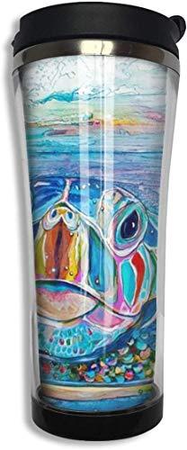 Yuanmeiju Vaso de café de acero inoxidable con diseño de tortugas marinas, taza de viaje con tapa, taza de café aislada al vacío