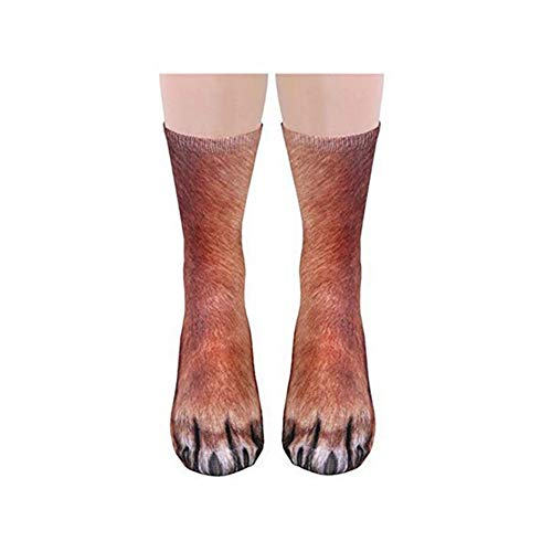 Funny Cotton Socks Novelty 3D Printing Dog Paws Pattern Socks Comfortable Breathable for Unisex Adult