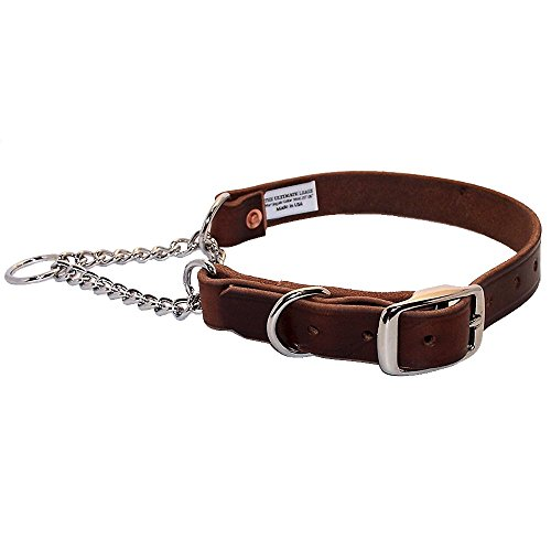 Brown Leather Martingale Dog Collar   Made in the...