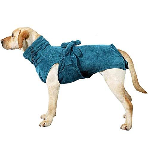 AONVN Albornoz para Perros, Absorbe la Humedad y Seca a la Mascota rápidamente, Accesorios de baño para Cachorros, Cuello y Cintura Ajustables, Albornoz para Perros-XXXL