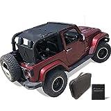 Shadeidea Sun Shade for Jeep Wrangler JK (2007-2018) 2 Door Front and Rear-Black Mesh Screen Sunshade JK Top Cover UV Blocker with Grab Bag - 10 Years Lasting