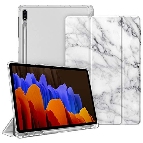 FINTIE Case for Samsung Galaxy Tab S7 Plus S7+ 12.4'' 2020 SM-T970/T976/T975 with S Pen Holder, Lightweight SlimShell with Translucent Frosted Stand Back Cover, Auto Wake/Sleep, Marble White