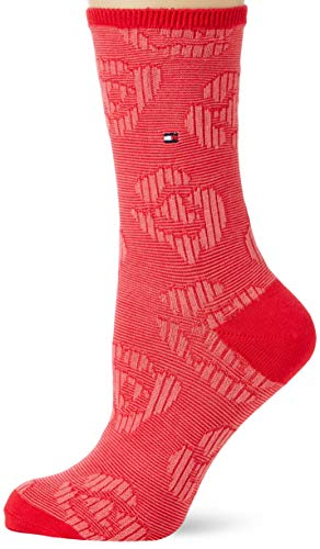 Tommy Hilfiger Womens TH 2P Flower Socks, Rose red, 39/42 (2er Pack)