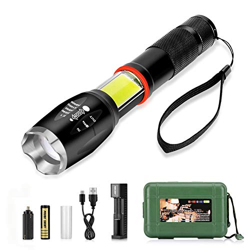 Linterna LED Recargable 3500mAh, LinternaTactica Impermeable IPX-6 con 5 Modos Super Brillante 800LM 6000K Zoom Ajustable T6 LED y Luz Lateral COB para Inspecciones, Camping, Ciclismo, trekking