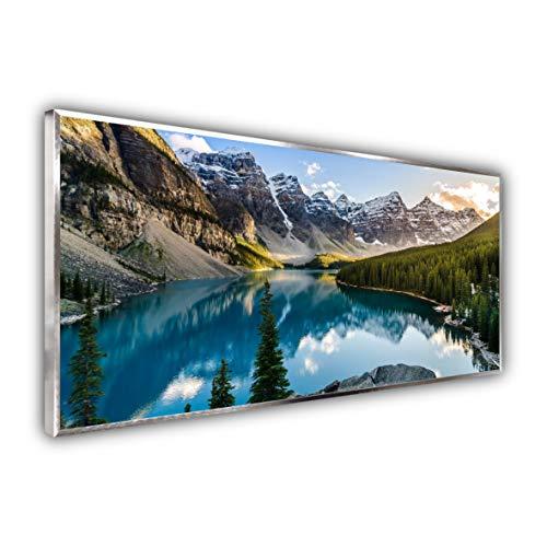 STEINFELD Premium Glas Bild Wandheizung Infrarotheizung mit Thermostat | Deutscher Hersteller | Motive 040 Rocky Mountains (750 Watt, silber/Alu)