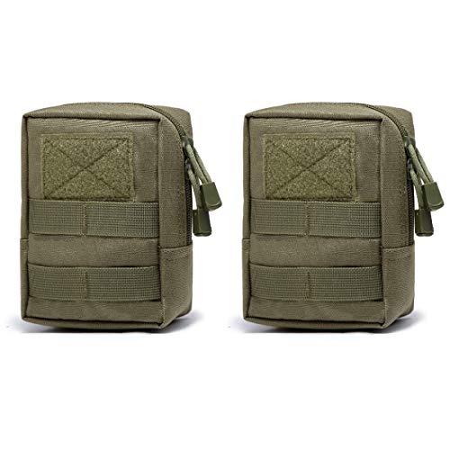 TRIWONDER Taktische Hüfttaschen, Molle Klein Tasche, Wasserdicht Gürteltasche Beutel für Camping Wandern Jagd (Grün - 2 TLG)