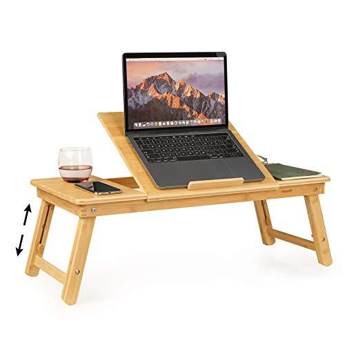 Homfa Mesa Ordenador Portátil Soporte de Portátil Mesa Cama Plegable con Patas Ajustables para Sofá Oficina Comida Leyendo Trabajos Bambú 72x35x(25-36) cm