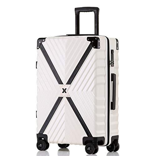 ボンイージ(bonyage) スーツケース ファスナー式 超軽量 TSAロック付 8輪 多段階調節 機内持込 旅行出張 1年保証 ホワイト white 2XLサイズ 約85L