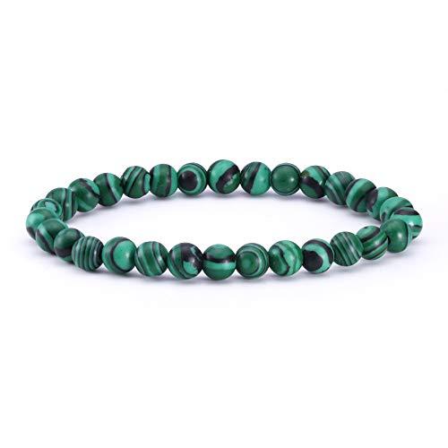J.Fée Perlenarmband Edelstein-Armband Armband aus Naturstein Perlen Yoga-Armband Armband aus Naturstein 6mm Rundes Perlenarmband Malachit-Armband Armband Geschenk für Frauen Männer