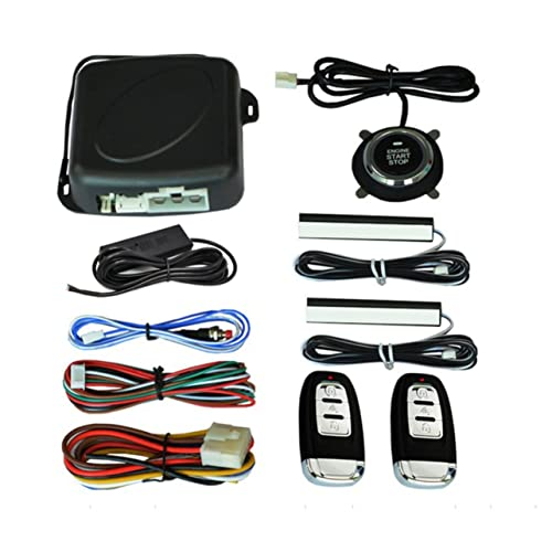Sistema de Motor de Parada de Arranque automático de Coche de 10 Piezas con Teclado Pke Sistema de Alarma de Motor de Entrada sin Llave Establecer contraseña Abrir/Cerrar Puerta - Negro
