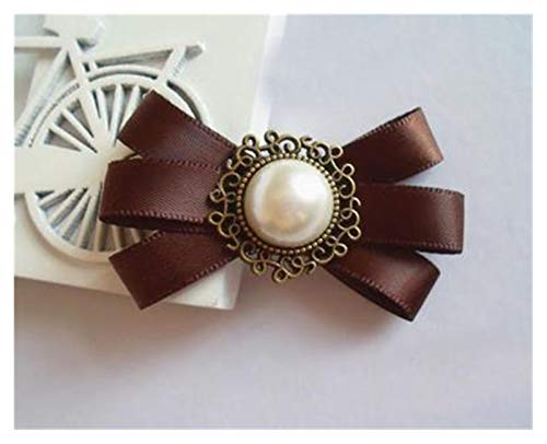 korean beauties JSJJAET Brooch Ribbon Broches Korean Handmade Retro Brooch Beauties Bow Badge Small Tie Collar Flower (Metal Color : Coffee Color)
