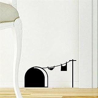 Apioffer Agujero de rat/ónBikes rodapi/é pared Art Vinilo Adhesivo 19 cm x 5 cm Gato y mariposa