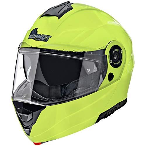 Germot Motorrad Klapp-Helm GM 960, kratzfestes Visier, fluo-gelb, XS