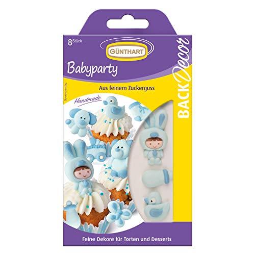 8 Günthart BackDecor Babyparty, blau | aus Zucker | Strampler | kinderwagen | Teddybär | Junge