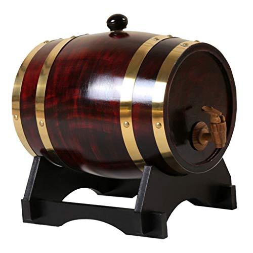 Generic Barril de Vino de Pino Vintage Dispensador Especial Cubo Barriles de Cerveza con Soporte para Tequila Bourbon Whisky Spirits Restaurante Decoración - 5L Rojo Vino Oscuro