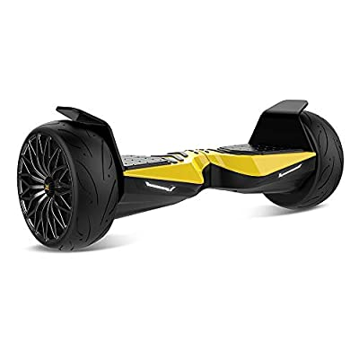 "TWO DOTS Hoverboard 8.5"" Off Road Hover Board All Terrain with App LED Lights Two-Wheel Bluetooth Speaker UL2272 Certified Electric Balancing Scooter for Kids and Adult Yellow"