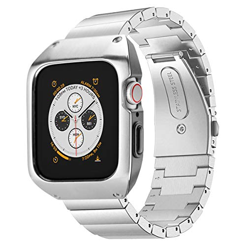 SPGUARD Kompatibel mit Apple Watch Armband 44mm Serie 4 & Serie 5, Edelstahl Armbänder mit Schutzhülle Butterfly Verschluss für Apple Watch Serie 4/5 44mm-Schwarz (C-Silber)