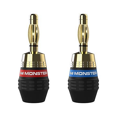 Monster XP QuickLock Connectors - Best Banana Speaker Wire Plugs for DIY Installations - 2 Pair (4 Total)