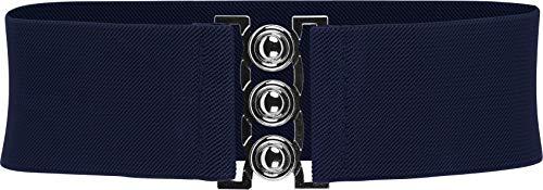BlackButterfly Clásico Triple Gancho Ancho Elástico Sujetar Elástico Cintura Cinturón (Azul oscuro, S)