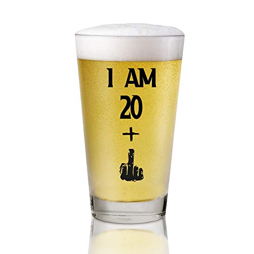 I Am 20 + 1 Middle Finger, 16 oz Pint Glasses Party Decorations Supplies, Funny 21th Birthday Beer Glass, Funny 21th Birthday Gifts for Men or Him, 21st Birthday Aged to Perfection, 21 years old gifts