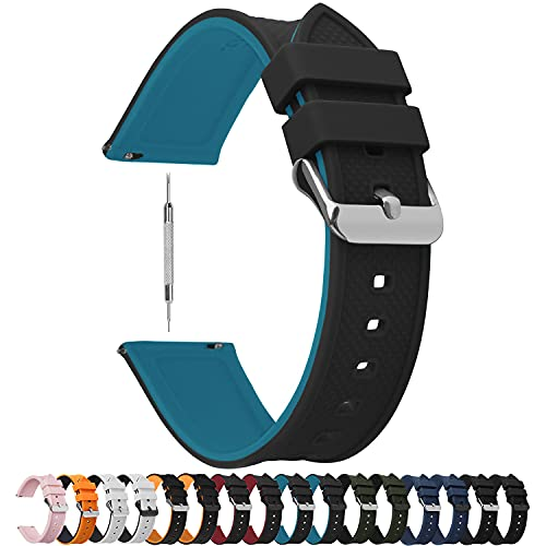 Fullmosa Quick Release Watch Band 18mm,Silicone Rubber Watch Band Bracelet Compatible Asus Zenwatch 2/LG Watch Style/Withings Activité/Steel HR 36mm,Black Top/Blue Bottom