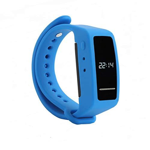 Reloj con Grabadora de Voz Digital, eoqo Brazalete de 8GB Activada por Voz,Grabadora de Audio con Cancelación de Ruido para Conferencias, Reuniones, Clases, Entrevistas (Brazalete Azul)