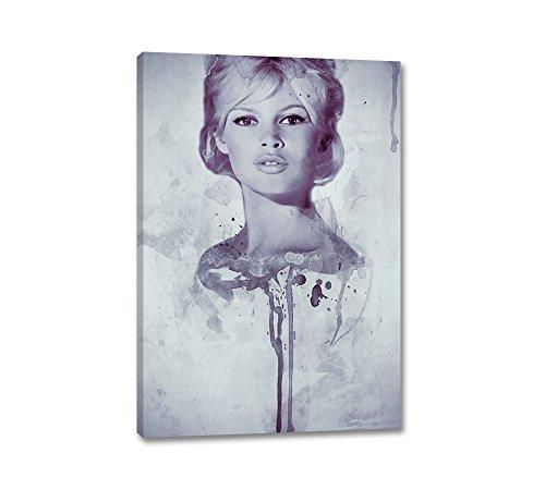 Brigitte Bardot Aquarell Art 90x60cm Portrait Digital Art Lila Rot Vintage Leinwandbild auf Keilrahmen Caro-Art Wandbilder