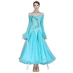 Blue Long-Sleeved V-Neck Standard Dance Dress