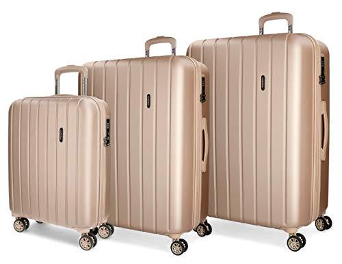 Movom Wood Juego de maletas Beige 55/65/75 cms Rígida ABS Cierre TSA 220L 4 Ruedas Dobles Equipaje de Mano