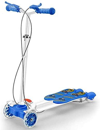 JSL Patinete de acero al carbono para niños con frenos con 3 ruedas LED azul plegable Kickboard Scooter para niños de 3 a 10 años Tri-Scooter-Style #4