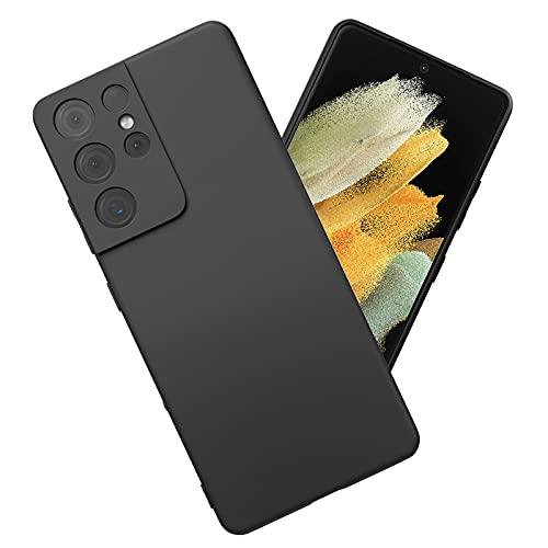 Enukov Funda compatible con Samsung Galaxy S21 Ultra Liquid Silicone Case Anti-Scratch Forro de microfibra con tacto sedoso, protección de cuerpo completo a prueba de golpes, color negro