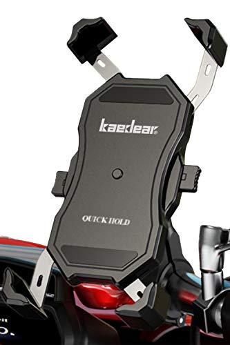 Kaedear(カエディア) バイク スマホ ホルダー バイク用 【 クイックホールド 】 携帯ホルダー スマホ 携帯 スマートフォン アルミ製 バーマウント ミラー マウント 360度回転 原付 オートバイ 自転車 (black, ショートマウント)