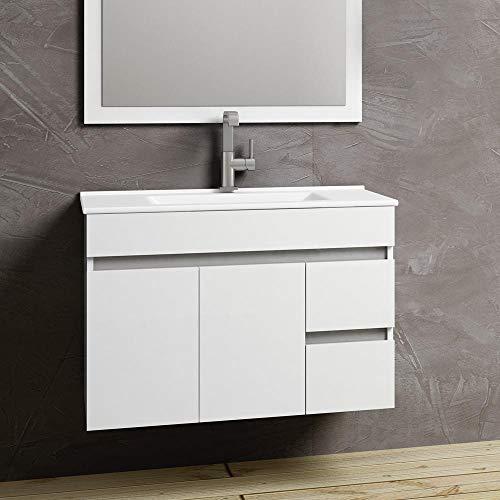 Kulldesign.com Conjunto de Muebles de baño suspendido 80 cm. Blanco Brillo.