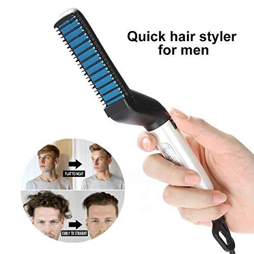 Peine de pelo eléctrico para hombres, peine alisador de cabello rápido y rizado, peine de masaje mágico Styler para hombre, alisador de cabello y rizador DIY (negro)