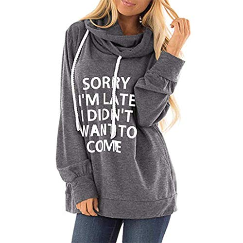 Pullover T Shirt Damen Langarmshirt Tops Mode Warm Locker Einfarbig Brief Print Pocket Kordelzug Lang Jacke Hoodie Sweatshirt Bluse Casual Mantel Herbst Winter Neu Hemd 2XL
