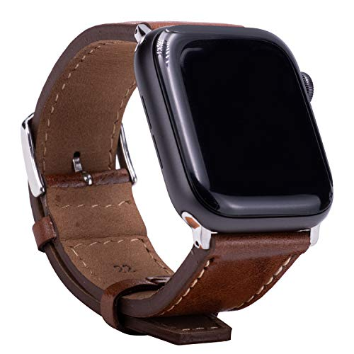 Leather Bands Compatible with Apple Watch 42mm 44mm Top Grain Leather Wristband Black Leather Vintage Strap with Black Buckle iWatch Series 6/5/4/3/2/1 (Brown)