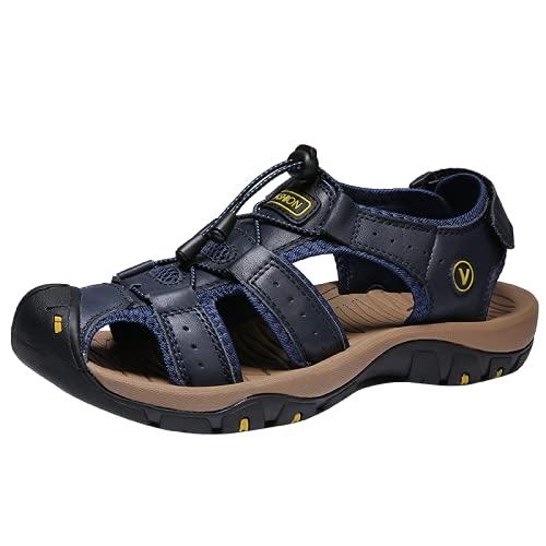 UJDKCF Cuero Sandalias al Aire Libre Hombres Zapatos Casual Verano Cómodo Sandalia Sandalia Sandalia Sandalia Blue 40