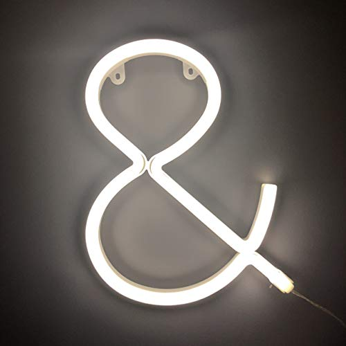 Smiling Faces UK Neon LED weiße Buchstaben Licht Zeichen - Wandbehang batteriebetrieben - Brief &