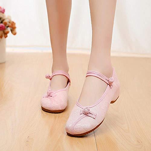YYYSHOPP Pisos de Mujer Mujeres Jacquard algodón Zapatos Planos Mujer Suave Bailarinas Damas Ballet Plano Casual cómodo Zapatos Bordados (Color : Pink, Size : 37 EU)
