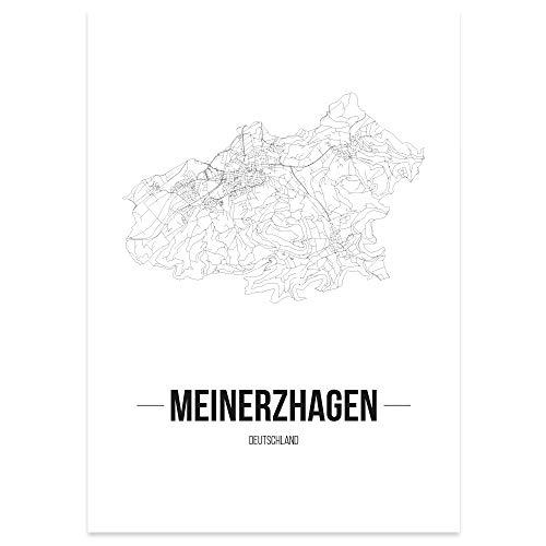 JUNIWORDS Stadtposter - Wähle Deine Stadt - Meinerzhagen - 21 x 30 cm Poster - Schrift B - Weiß